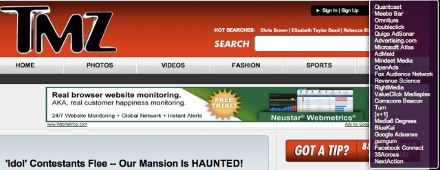 TMZ takes the cake with the most tracking tools